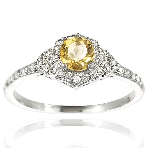 Journee Collection Sterling Silver Citrine and CZ Bridal-style Ring