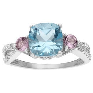 Journee Collection Sterling Silver Gemstone and Cubic Zirconia Bridal-style Ring