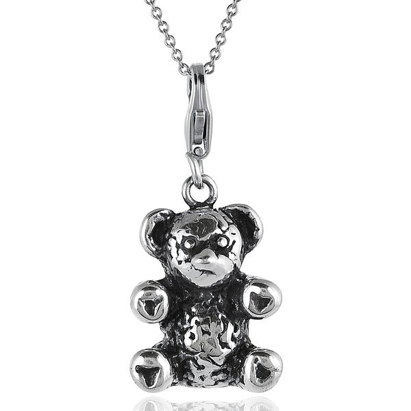 Journee Collection Sterling Silver Teddy Bear Necklace