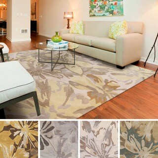 Hand-tufted Putty Wrigley Wool Area Rug (6' Square)