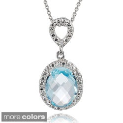 Journee Collection Sterling Silver Gemstone and Cubic Zirconia Oval Necklace