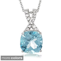 Journee Collection Sterling Silver Gemstone and Cubic Zirconia Square Necklace
