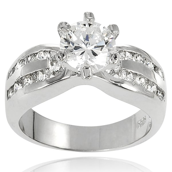 Journee Collection Sterling Silver Cubic Zirconia Bridal and Engagement-style Ring