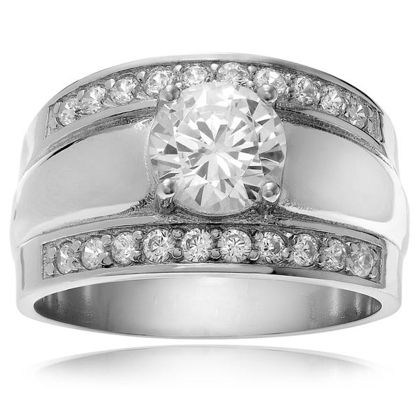 Journee Collection Sterling Silver Cubic Zirconia Bridal Engagement-style Rings