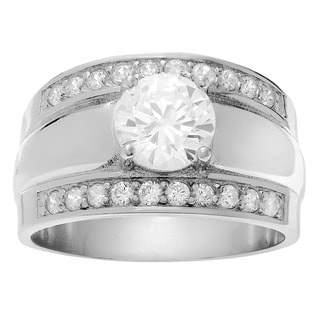 Sterling Silver Cubic Zirconia Wedding Ring Set