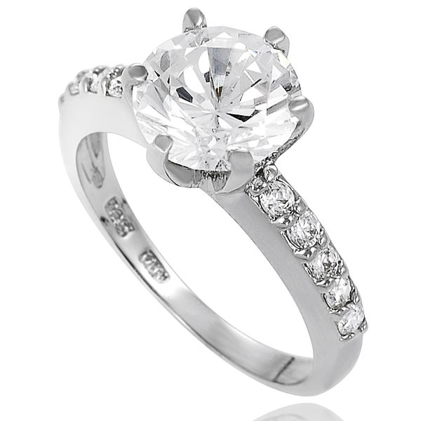 Journee Collection Sterling Silver Pave-set Cubic Zirconia Bridal- and Engagement-style Ring