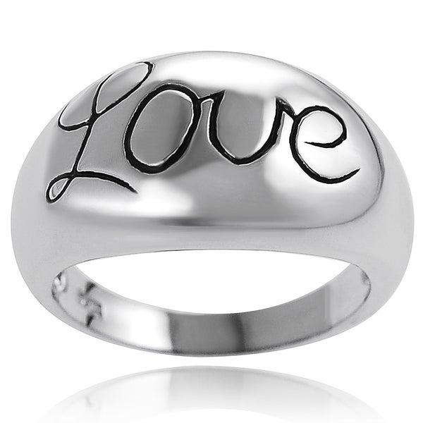 Journee Collection Sterling Silver Domed Love Ring