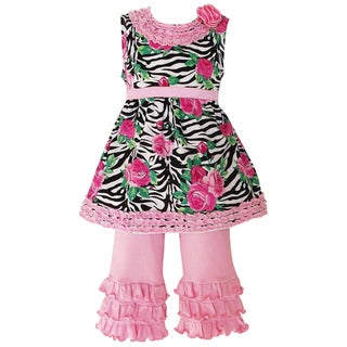 AnnLoren Girls Sweet Zebra Rose Ruffled Capri Outfit