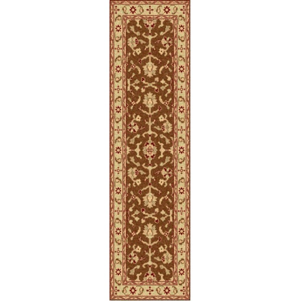 "Hand-knotted Golden Brown Mangusta Wool Rug (2'6"" x 8')"