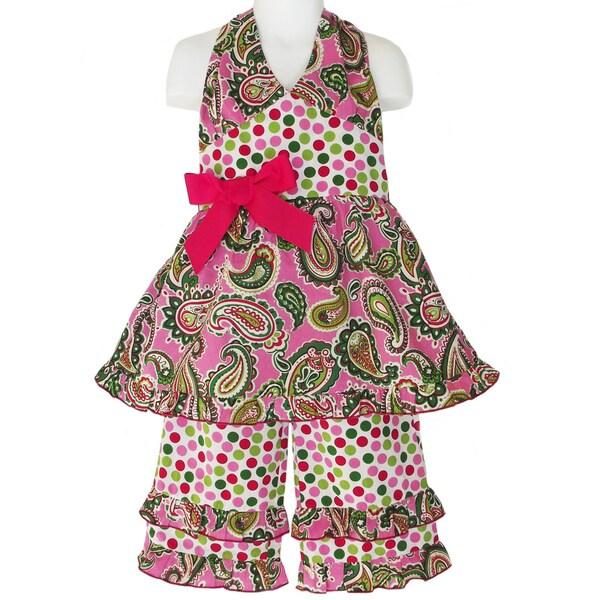 AnnLoren Girls Paisley & Polka Dot Outfit