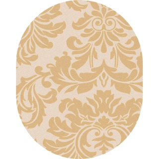 Hand-tufted Antique Gold Monaco Wool Rug (8' x 10' Oval)