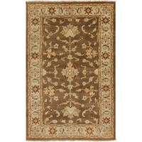 Hand-knotted Golden Brown Mangusta Wool Area Rug - 2' x 3'