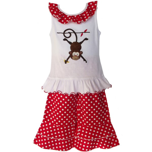 AnnLoren Girls Monkey & Polka Dots Outfit