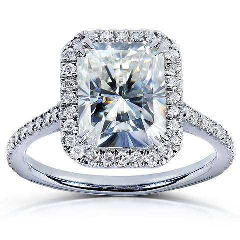 Annello by Kobelli 14k White Gold Moissanite and Diamond Halo Engagement Ring