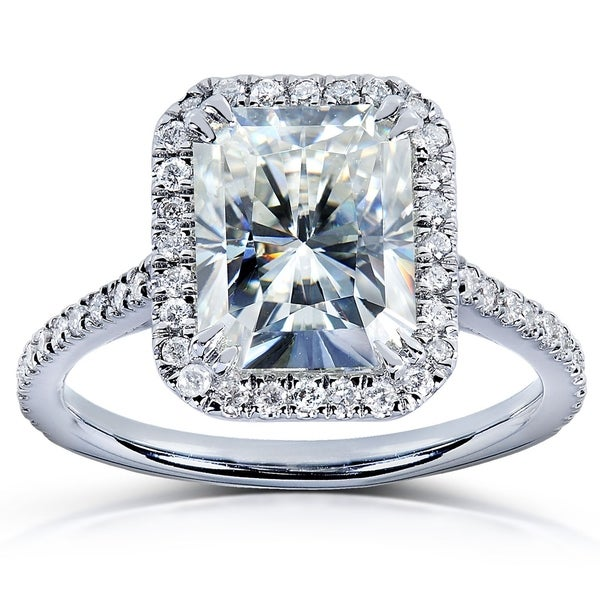 Annello by Kobelli 14k White Gold 3ct TGW Radiant Moissanite and Diamond Rectangular Halo Engagement Ring