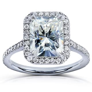 Annello by Kobelli 14k White Gold 3ct TGW Radiant Moissanite (HI) and Diamond Rectangular Halo Engagement Ring|https://ak1.ostkcdn.com/images/products/7619065/P15039959.jpg?impolicy=medium