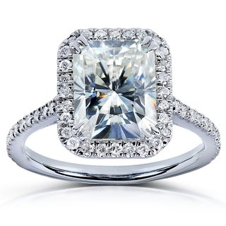 Annello by Kobelli 14k White Gold 3ct TGW Radiant Moissanite (HI) and Diamond Rectangular Halo Engagement Ring