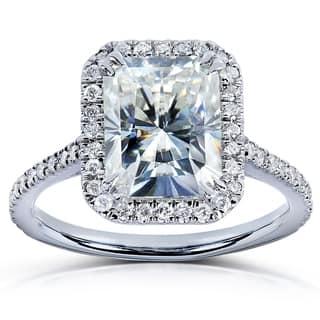 annello by kobelli 14k white gold 3ct tgw radiant moissanite hi and diamond rectangular - Modern Wedding Rings