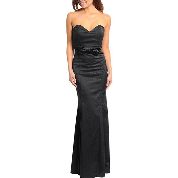Stanzino Women's Strapless Sweetheart Neckline with Bow Waist Dress