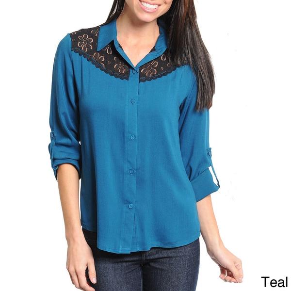 Stanzino Women's 3/4 Sleeve Lace Detailed Button Down Shirt