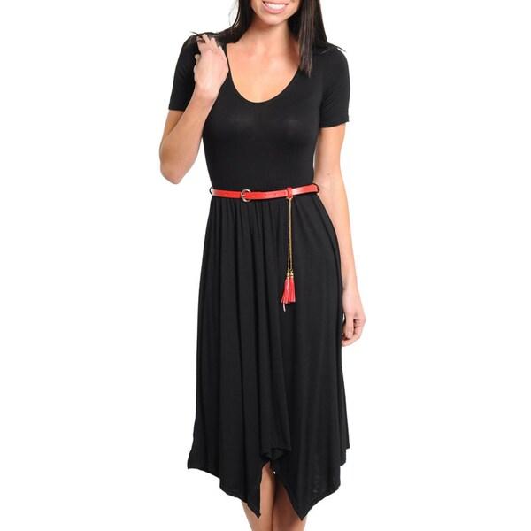 Stanzino Women's Short Sleeve Belted Black Dress