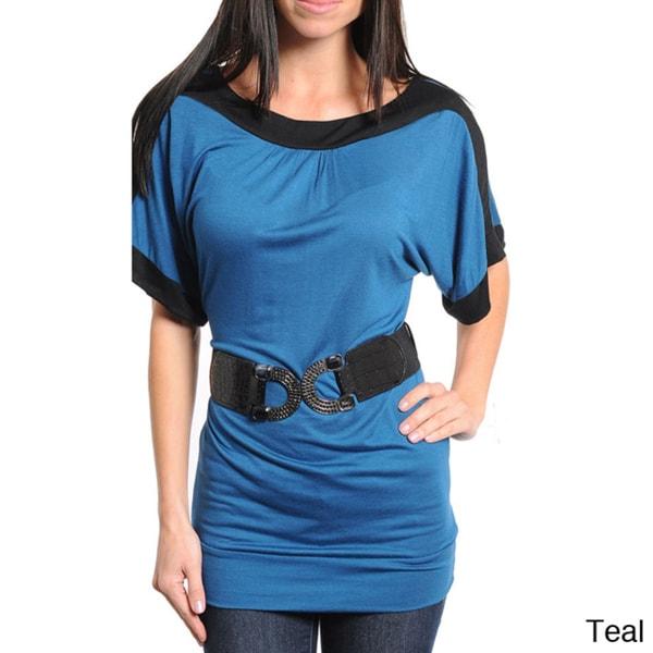 Stanzino Women's Belted Contrast Trim Top