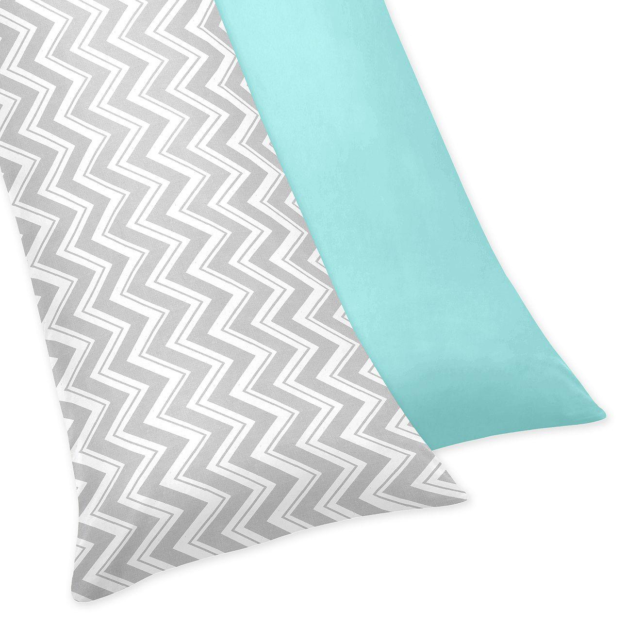 Sweet Jojo Designs Turquoise Grey Chevron Print Reversible Pillowcase Overstock 7619114