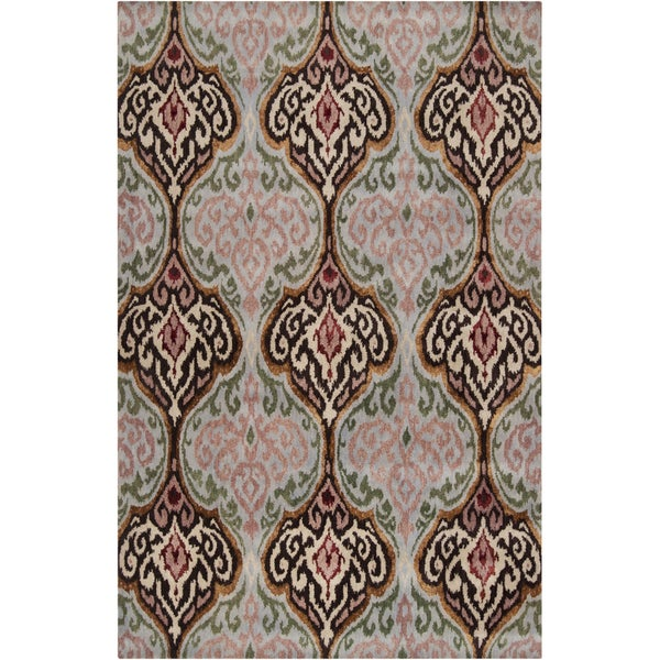 Hand-tufted Sapporo Light Green Ikat Wool Rug (3'3 x 5'3)