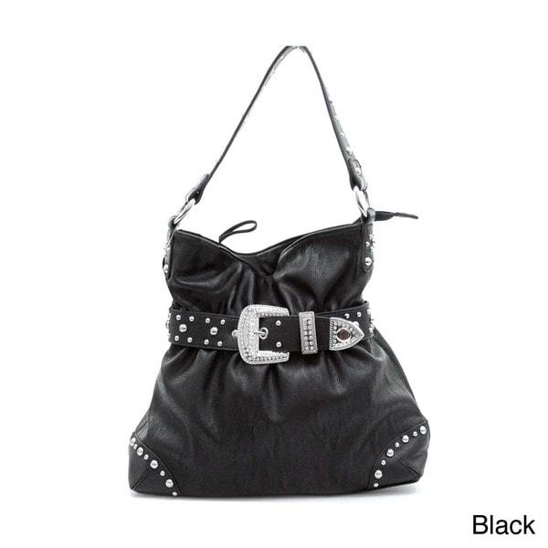 51ffaaa9e3f9 Shop Dasein Women s Belted Rhinestone Embellished Hobo Bag - Free ...