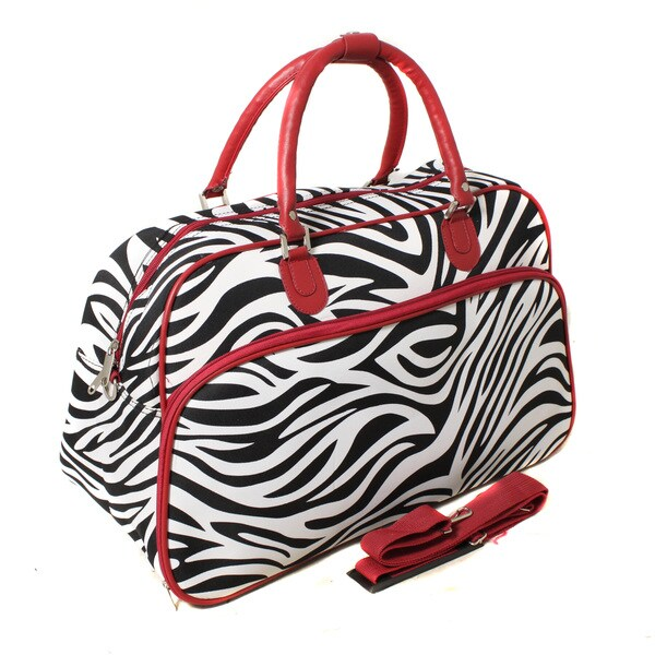 World Traveler Zebra / Red Trim 20-inch Carry-on Fashion Shoulder Tote Bag