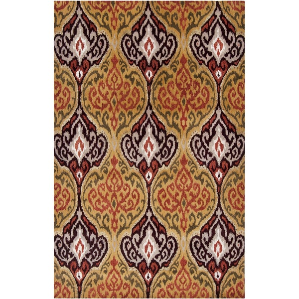 Hand-tufted Savana Summer Squash Ikat Wool Area Rug - 8' X 11'