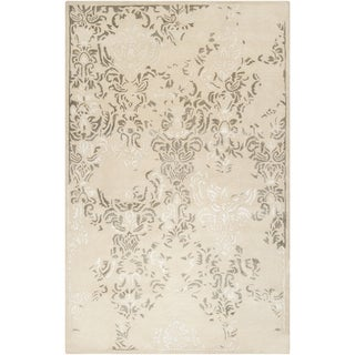 Hand-tufted Solara Antique White Distressed Damask Wool Rug (8' x 11')