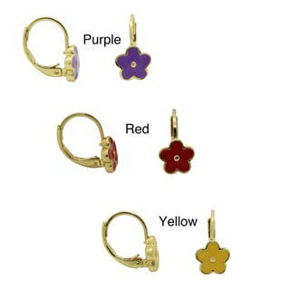Junior Jewels 18k Gold Overlay Large Enamel Flower Leverback Earrings