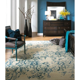 Hand-tufted Sephia Parchment Distressed Damask Wool Rug (8' x 11')