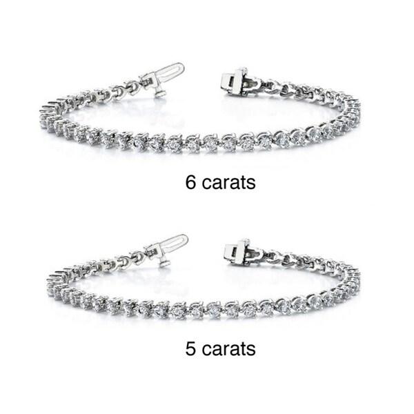 14k White Gold 5 or 6ct TDW Diamond Tennis Bracelet (G-H, VS1-VS2)
