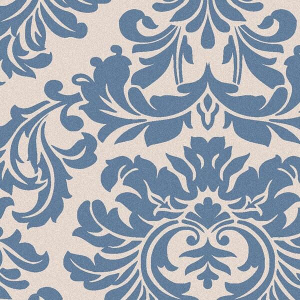 Hand-tufted Slate Blue Mondial Wool Rug (8' x 8')