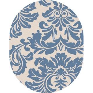 Hand-tufted Slate Blue Mondial Wool Rug (6' x 9' Oval)