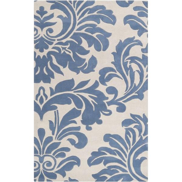 Hand-tufted Slate Blue Mondial Wool Area Rug - 6' x 9'