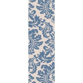 Hand-tufted Slate Blue Mondial Wool Rug (3' x 12')