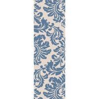 Hand-tufted Slate Blue Mondial Wool Area Rug - 3' x 12'