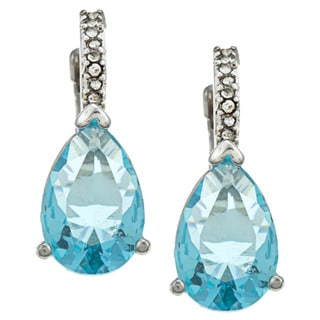 City by City City Style Silvertone Pear-cut Blue Topaz and Cubic Zirconia Earrings