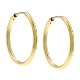 City by City City Style Goldtone Polished Tube Hoop Earrings