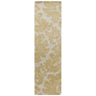Hand-tufted Antique Gold Monaco Wool Rug (3' x 12')