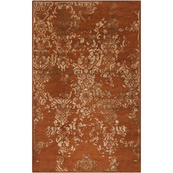 Hand-tufted Sonata Rust Red Distressed Damask Wool Rug (8' x 11')