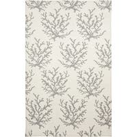 Hand-woven Gremlin White Wool Abstract Area Rug - 2' X 3'