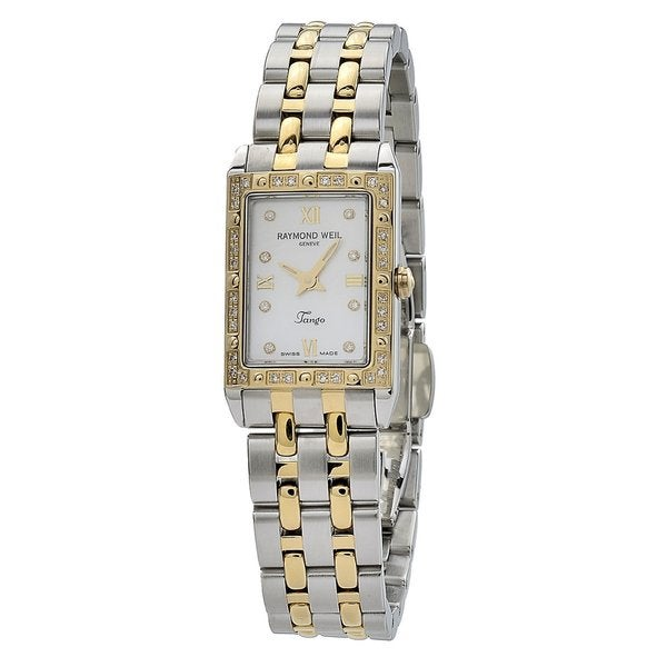 Raymond Weil Women's 5971-SPS-00995 'Tango Square' Mother of Pearl Diamond Dial Two Tone Stainless Steel Quartz Watch