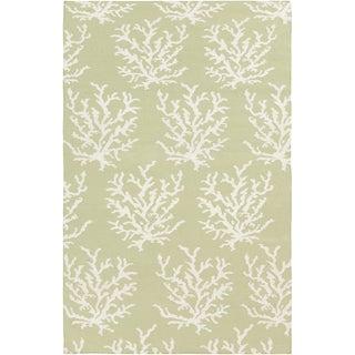 Handwoven Horizon Lettuce Leaf Wool Rug (5' x 8')