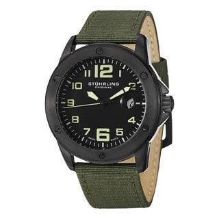 Stuhrling Original Men's Pilot Ace Quartz Canvas Leather Strap Watch