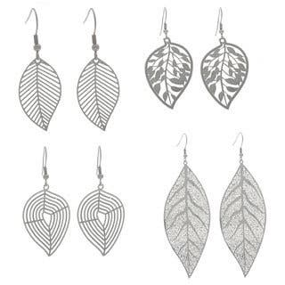 NEXTE Jewelry Stainless Steel Leaf Design Dangle Earrings|https://ak1.ostkcdn.com/images/products/7619602/P15040393.jpg?impolicy=medium