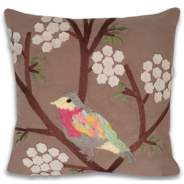 Adrian Embroidered Bird 16 x 16-inch Decorative Pillow
